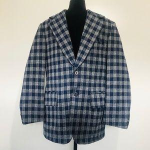 Vintage Sears Mens Store Wool Plaid 1970s Blazer